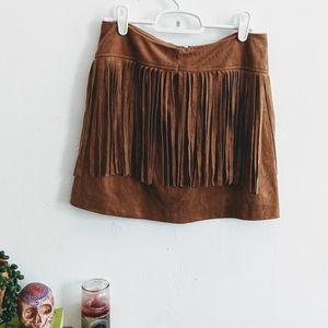 Bb Dakota Jack Suede Fringed Mini Skirt